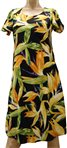 Paradise Found Watercolor Bird of Paradise Black Rayon Hawaiian A-Line with sleeves Short Dress