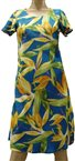 Paradise Found Watercolor Bird of Paradise Blue Rayon Hawaiian A-Line with sleeves Short Dress