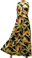Paradise Found Watercolor Bird of Paradise Black Rayon Hawaiian Long Dress