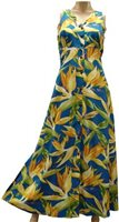 Paradise Found Watercolor Bird of Paradise Blue  Rayon Hawaiian Long Dress