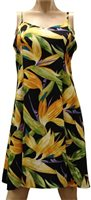 Paradise Found Watercolor Bird of Paradise Black Rayon Hawaiian Slip Short Dress