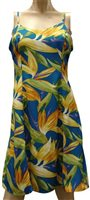 Paradise Found Watercolor Bird of Paradise Blue Rayon Hawaiian Slip Short Dress