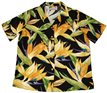 Paradise Found Watercolor Bird of Paradise Black Rayon Women's Hawaiian Shirt
