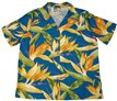 Paradise Found Watercolor Bird of Paradise Blue Rayon Women's Hawaiian Shirt