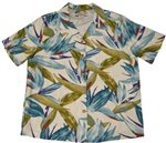 Paradise Found Watercolor Bird of Paradise Cream Rayon Women's Hawaiian Shirt