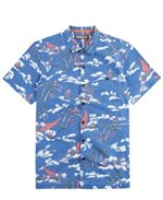 Kahala Malihini Surf Royal Blue Cotton Men's Hawaiian Shirt