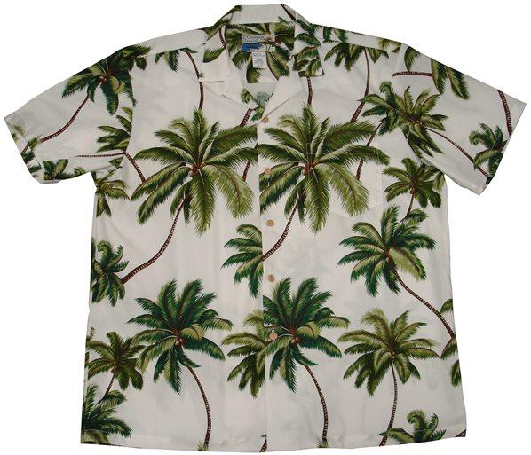 23dfb002 Waimea Casuals Waimea Palms White Cotton Men's Hawaiian Shirt ...