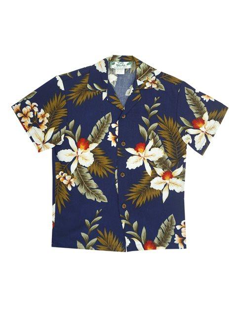 988ccadec Two Palms Hawaiian Orchid Navy Rayon Boys Hawaiian Shirt | AlohaOutlet