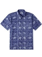 Reyn Spooner Lahaina Sailor Navy Cotton Polyester Men's Hawaiian Shirt Classic Fit