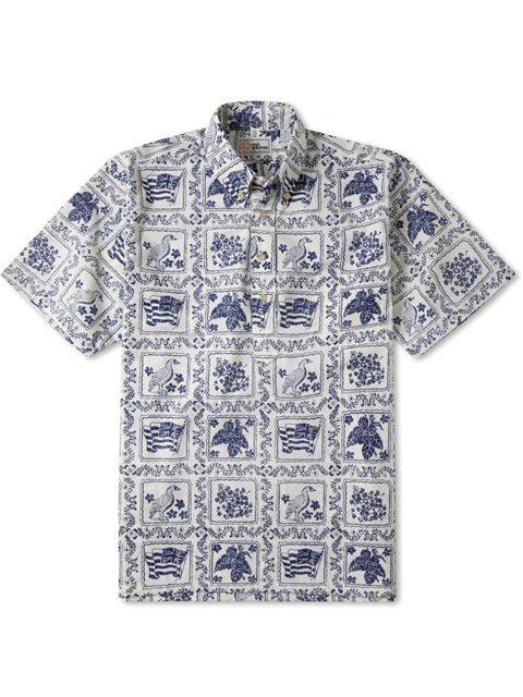 4d86af99b Reyn Spooner Lahaina Sailor Natural Cotton Polyester Men's Hawaiian Shirt  Classic Fit