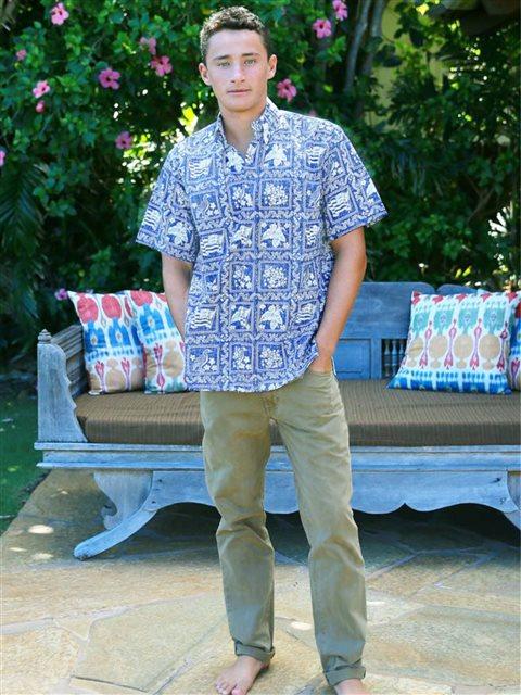 467c9155a Lahaina Sailor Denim Cotton Polyester Men's Hawaiian Shirt Tailored Fit