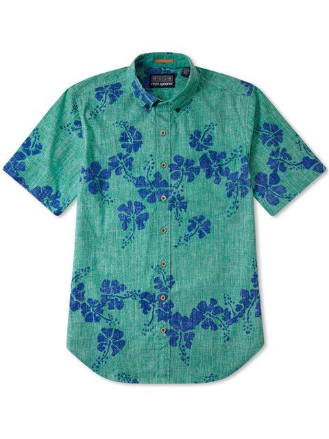 d88a1f2ba Reyn Spooner 50th State Flower Mint Cotton Polyester Men's Hawaiian ...