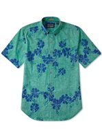 Reyn Spooner 50th State Flower Mint Cotton Polyester Men's Hawaiian Shirt
