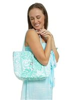 Happy Wahine Monstera Blue Reversible Tote Nancy Small