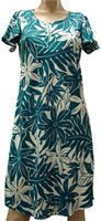Paradise Found Tahitian Gardenia Teal Rayon Hawaiian A-Line with sleeves Short Dress