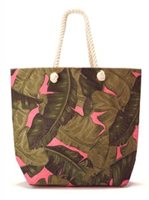 Two's Company Palm Leaf Pink Tote Jute Bag