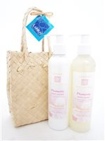 Lanikai Bath and Body Twosomes Body Wash and Lotion 8.5 oz in Lauhala Gift Bag [Plumeria]