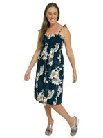 Pacific Legend Hibiscus Navy Cotton Hawaiian Tube Midi Dress