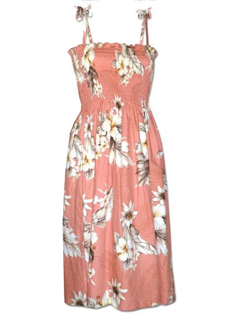 596eff46208e Pacific Legend Hibiscus Peach Cotton Hawaiian Tube Midi Dress ...
