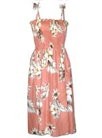 Pacific Legend Hibiscus Peach Cotton Hawaiian Tube Midi Dress