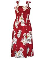 Pacific Legend Hibiscus Red Cotton Hawaiian Tube Midi Dress