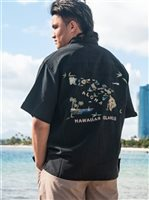 Bamboo Cay Hawaiian Island Black Modal/Polyester Men's Hawaiian Shirt