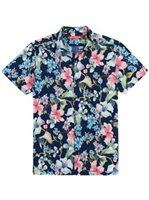 Tori Richard Que Seurat - Standard Fit Navy Cotton Spandex Men's Hawaiian Shirt