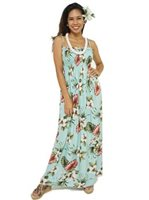 Royal Hawaiian Creations Hibiscus & Monstera Light Blue Rayon Hawaiian Elastic Strap Tube Long Dress