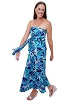 Escapada Seaglass Cabana Aegean Blue Rayon Long Strapless Escapada Maria Convertible Dress [40% OFF]