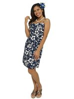 Hilo Hattie Classic Hibiscus Pareo Navy Cotton Short Strap Dress