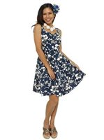 Hilo Hattie Classic Hibiscus Pareo Navy Cotton Smock Back Sundress [40% OFF]