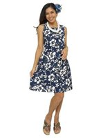 Hilo Hattie Classic Hibiscus Pareo Navy Cotton Short Sleeveless Bias Dress [40% OFF]