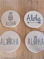 Minty Hawaii Aloha Cork Coasters 4 pc set