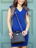 Happy Wahine Tapa Tiare Embossed Black Crossbody Annie