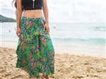 Taravana Rarahu Green Side Slit Wide Leg Pants