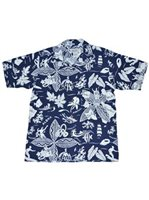 Avanti King & Islands Navy Silk & Cotton Men's Hawaiian Shirt