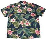Waimea Casuals Hibiscus Fern  Navy Cotton Men's Hawaiian Shirt