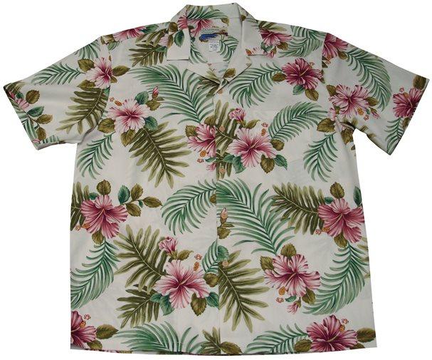 f0f19e1a Waimea Casuals Hibiscus Fern White Cotton Men's Hawaiian Shirt ...