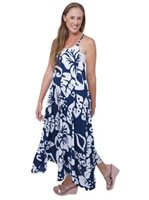 Lani Lau Hibiscus Navy Wailea Dress