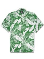Reyn Spooner Anuenue Falls Button Front Green Cotton Polyester Men's Hawaiian Shirt Classic Fit