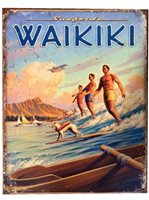 Waikiki Surfride Tin Sign