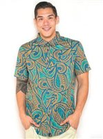 Hinano Tahiti Moon Ocean Depths (Teal) Men's Hawaiian Shirt