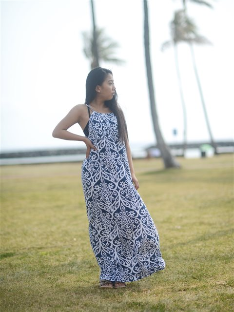 6c20cb972a Coral of the Sea Karma Rae Navy Gia Long Dress | AlohaOutlet