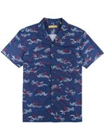 Kahala Sea Swept Navy Rayon / Cotton / Linen Men's Hawaiian Shirt - Standard Fit