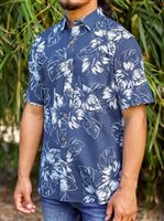 Te Aito Ta'aroa Ekewaka Navy Cotton Men's Hawaiian Shirt
