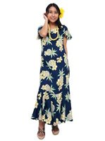[Exclusive] Two Palms Hale Kahiki Navy Rayon Hawaiian Long Dress