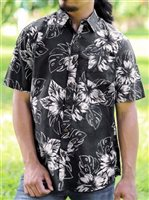 Te Aito Ta'aroa Ekewaka Black Oxford Cotton Men's Hawaiian Shirt
