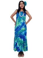 Anuenue Misty Banana Leaf  Blue Rayon Hawaiian Dress