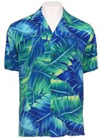 Anuenue Misty Banana Leaf Blue Rayon Men's Hawaiian Shirt