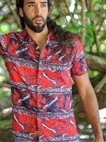 Te Aito Tane 7 Kapueo Red Oxford Cotton Men's Hawaiian Shirt